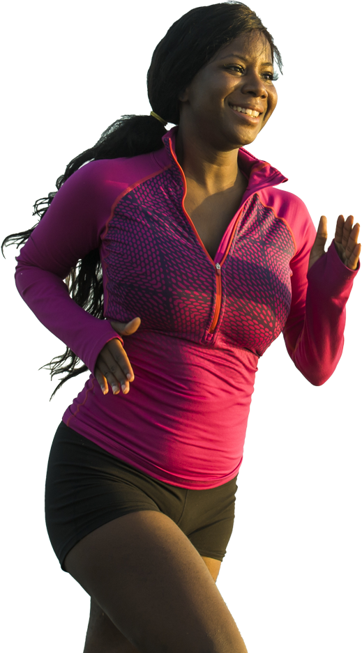 woman in pink top running to improve her health and wellbeing