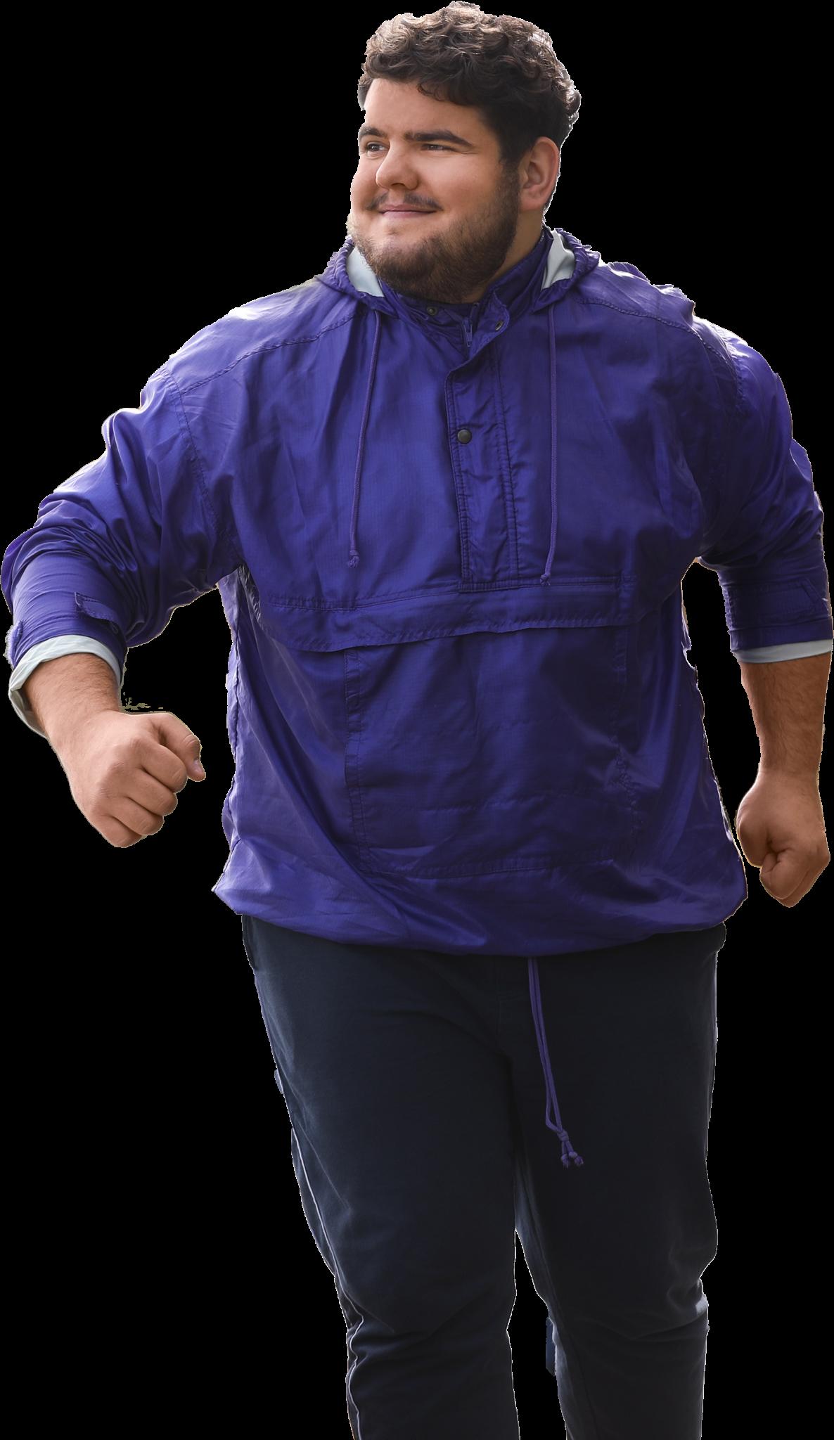 man exercising in purple coat and black jogging bottoms